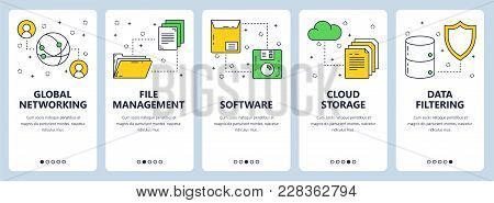 Vector Set Of Networking Vertical Banners. Global Networking, File Management, Software, Cloud Stora