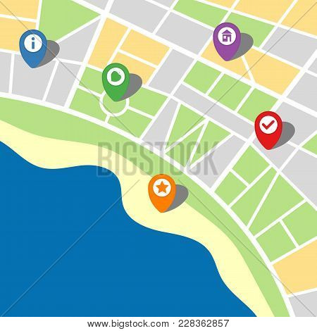 City Map Of An Imaginary City With Sea And Five Pins. Vector Illustration.