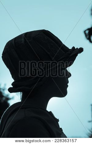 Girl Hat Closeup Profile Silhouetted