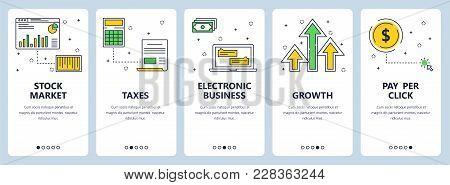 Vector Set Of Vertical Banners With Stock Market, Taxes, Electronic Business, Growth, Pay Per Click
