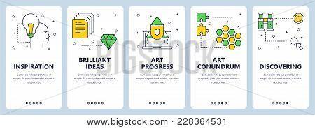 Vector Set Of Vertical Banners With Inspiration, Brilliant Ideas, Art Progress, Art Conundrum, Disco