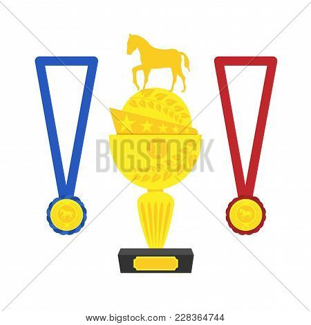 Award For The Winner Of Equestrian Sport Competitions, Flat Illustration