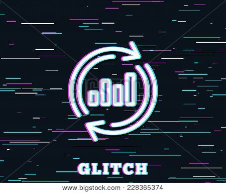 Glitch Effect. Chart Line Icon. Update Report Graph Or Sales Growth Sign. Analysis And Statistics Da