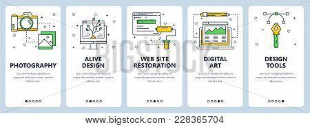 Vector Set Of Vertical Banners With Photography, Alive Design, Web Site Restoration, Digital Art, De