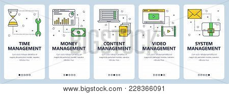 Vector Set Of Vertical Banners With Time Management, Money Management, Content, Video And System Man