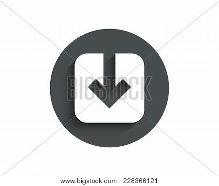 Load Document Simple Icon. Download Arrowhead Symbol. Direction Or Pointer Sign. Circle Flat Button