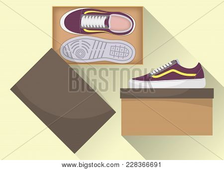 Stylish Modern Sneakers In Box, Side And Top View. Sneakers In A Shoe Box. Sports Or Casual Shoes. I