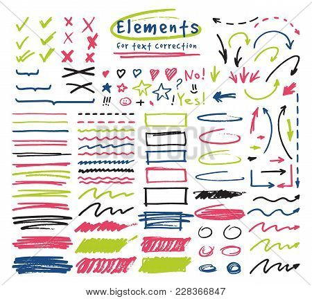 Highlighter Markers Vector Highlighting With Hand Drawing Elements To Select And Highlight Text Illu