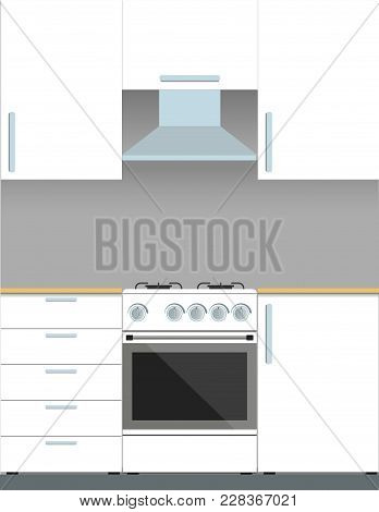 Modern White Kitchen Furniture And Gas Stove. Vector Illustration In Flat Style.