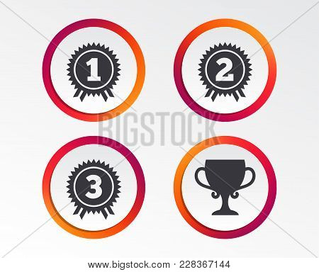First, Second And Third Place Icons. Award Medals Sign Symbols. Prize Cup For Winner. Infographic De