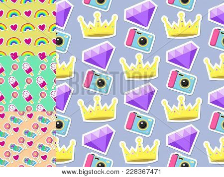 Cute Hipster Stickers Scrapbook Drawing Vector Illustration. Fashion Patch Pop Design Hand Drawn Bad
