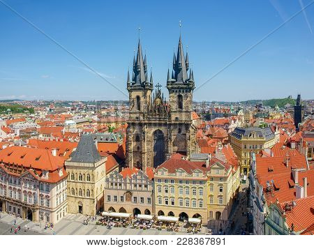 East Part Of The Old Town Square And Church Of Our Lady Before Tyn In Prague. View From The Old Town