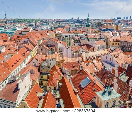 Rooftops Of The Old Town In Prague. View From The Old Town City Hall To The South East
