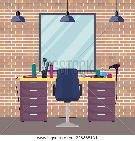 Hairdresser S Workplace In Woman Beauty Hairdressing Salon. Chair, Mirror, Table, Hairdressing Tools