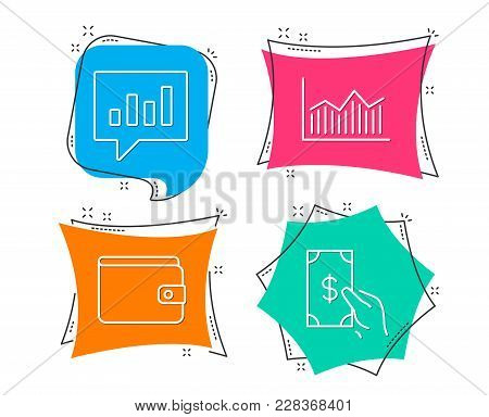 Set Of Money Wallet, Money Diagram And Analytical Chat Icons. Payment Method, Currency Diagram, Comm