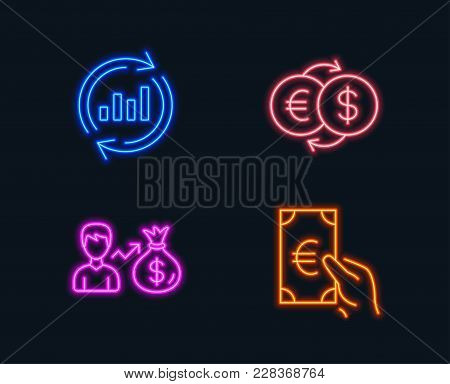 Neon Lights. Set Of Update Data, Sallary And Money Exchange Icons. Finance Sign. Sales Chart, Person