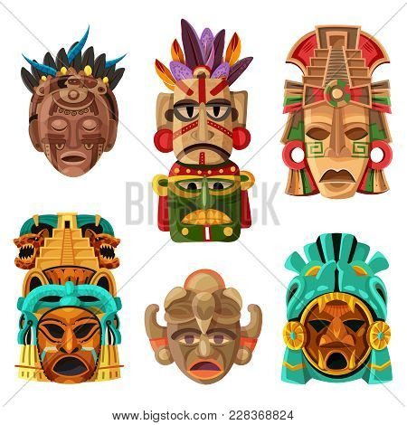 Colorful Mayan Mask Cartoon Set With Native  Ethnicity Tribal And Religious Decorative Elements Isol