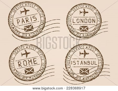 City Postmarks. Old Faded Retro Styled Impress. Vector Illustration