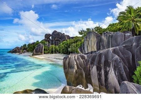 Rocks,white Sand,palms,turquoise Water At Tropical Beach,la Dique,seychelles Paradise 16