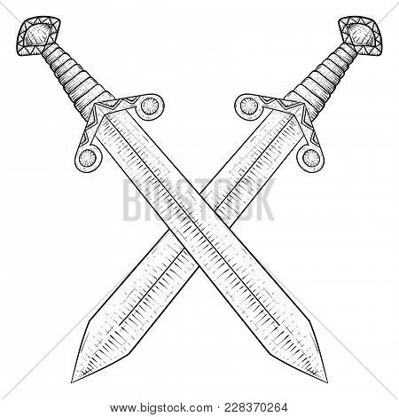 Crossed Swords. Hand Drawn Sketch. Vector Illustration Isolated On White Background