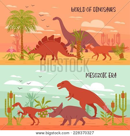 Two Horizontal Dino Banners Collection With Images Of Prehistoric Landscape With Plants And Dinosaur
