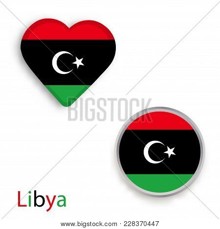 Heart And Circle Symbols With Flag Of Libya. Vector Illustration