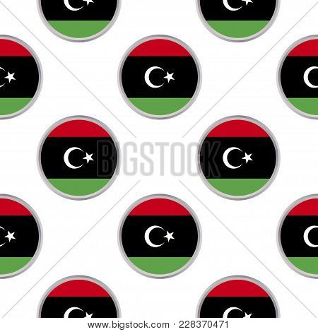 Seamless Pattern From The Circles With Flag Of Libya. Vector Illustration