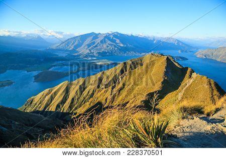 Breathtaking, Stunning Landscape View From Roys Peak On Lake Wanaka At Twilight, South Island, New Z