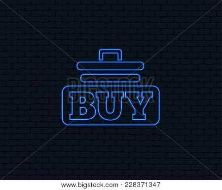 Neon Light. Buy Sign Icon. Online Buying Cart Button. Glowing Graphic Design. Brick Wall. Vector