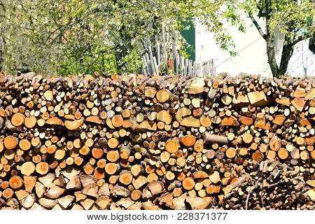 Preparation Of Firewood.material For Heating The House. Preparation Of Firewood For The Winter.