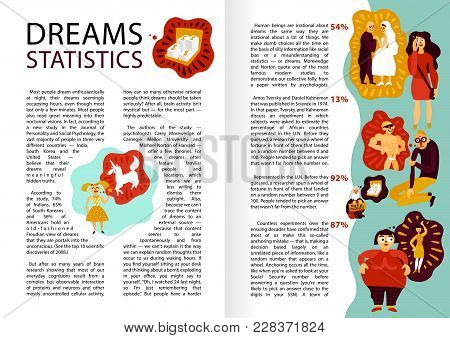 Human Dreams Infographics, Book Pages, With Statistics Of Personal Wishes Including Marriage, Money,