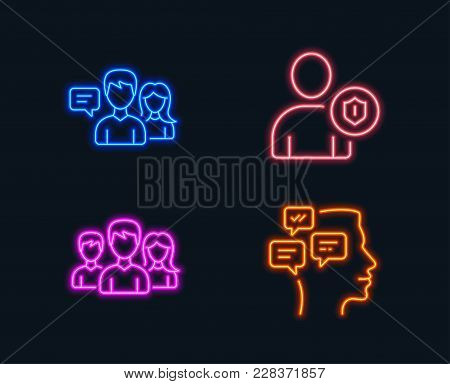 Neon Lights. Set Of Teamwork, Security And People Talking Icons. Messages Sign. Group Of Users, Pers