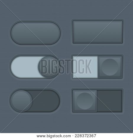 Toggle Switch Buttons. Set Of Black Button Pairs. Vector 3d Illustration