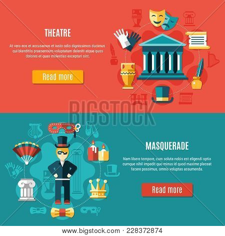 Two Horizontal Theatre Banner Set With Masquerade And Theatre Headline And Read More Buttons Vector