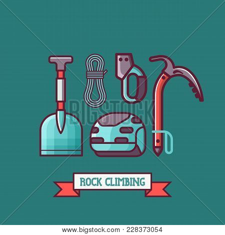 Rock Climbing Icon Set. Professional Mountaineering Equipment Kit. Alpine Elements For Mountain Expe