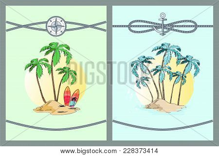 Framed Vector Illustrations With Palm Trees Blue And Green Leaves On Palms That Isolated In Bright Y