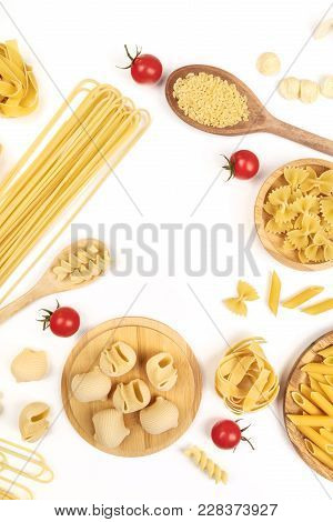 Overhead Photo Of Different Types Of Pasta, Including Spaghetti, Penne, Fusilli, And Others, Shot Fr