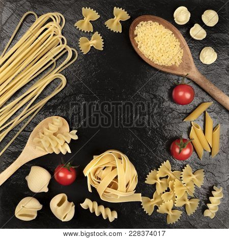 An Overhead Square Photo Of Different Types Of Pasta, Including Spaghetti, Orzo, Fusilli, Penne, Wit
