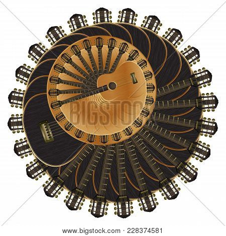 Vector Illustration Musical Background Acoustic Guitar Deployed Around The Bright And Dark Guitar An