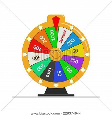 Wheel Of Fortune Lottery Luck Illustration. Casino Game Of Chance. Win Fortune Roulette. Flat Vector