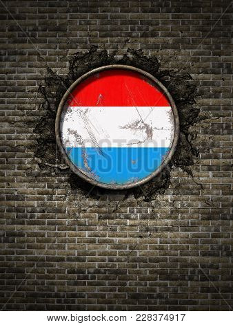 3d Rendering Of A Luxembourg Flag Over A Rusty Metallic Plate Embedded On An Old Brick Wall