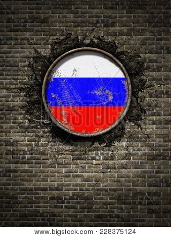 3d Rendering Of A Russian Federation Flag Over A Rusty Metallic Plate Embedded On An Old Brick Wall