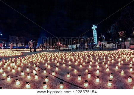 The Victims Of Soviet Deportations Were Remembered With 20000 Candles Lit On The Freedom Square Of T
