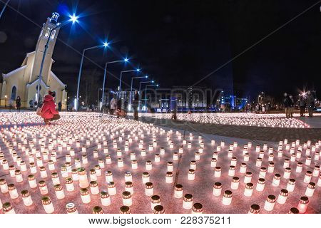 There Were 20000 Candles Lit On The Freedom Square Of Tallinn, The Capital Of Estonia. The Victims O