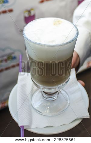 A Fragrant And Invigorating Drink Latte With A Delicious Milk Foam.