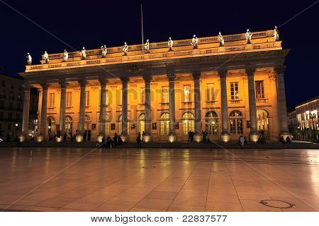 Night view of Grand Theater Bordeaux (1780 designed by Victor Louis) home to the National Opera Bordeaux Aquitaine France poster