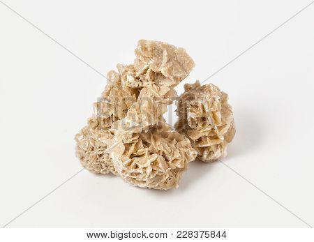 Ore Desert Rose On White Background,  Desert Rose Is The Colloquial Name Given To Rose-like Formatio