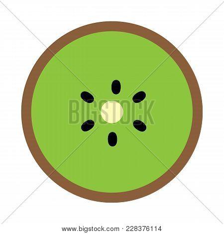 Kiwi Icon On White Background. Kiwi Sign. Flat Style. Kiwi Fruit Slice Symbol.