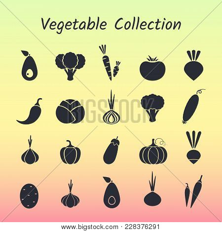 Black Silhouette Isolated Vegetable Icon Set On Trendy Background. Vector Illustration With Symbol O