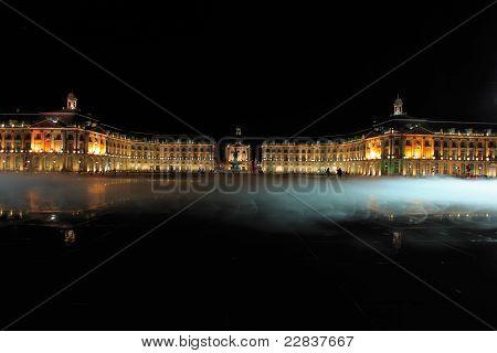 Place De La Bourse (1745-1747, Designed By Jacques-ange Gabriel) And Water Mirror At Night, Bordeaux